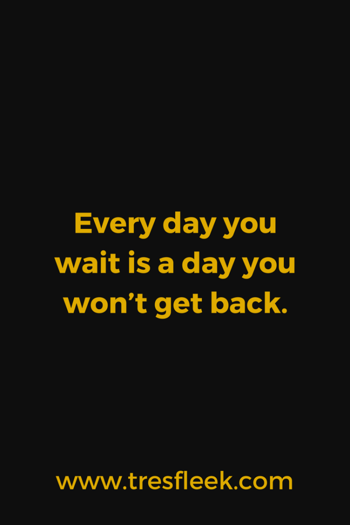 Every day you wait is a day you won't get back. | Goal Setting Quotes